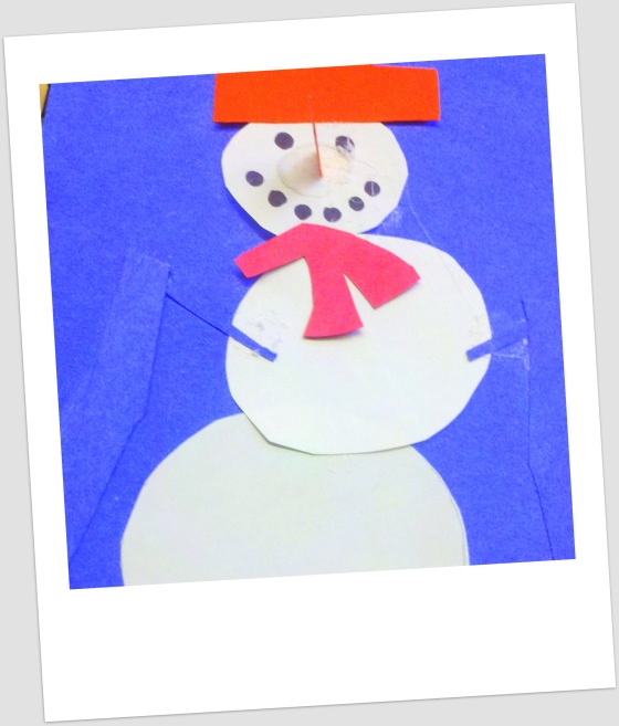 We celebrated winter with a snowman craft.  Check out that 3D nose on that skiing snowman!