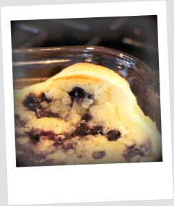 "We made blueberry clafoutis (cla-foo-TEE), which was a bust because it was too ""egg-y""."