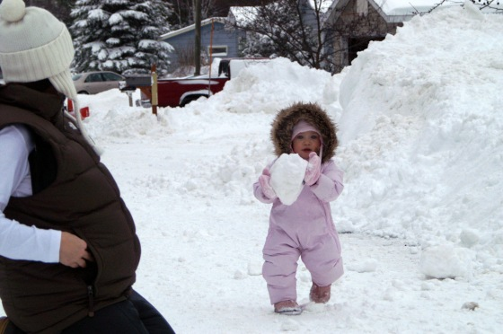 Snowball fight, Yooper Style.  Pregnant with Jospeh, I culd barely get back up after Molly threw her snow!